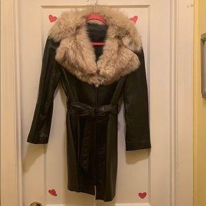 Black leather and rabbit fur coat